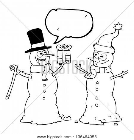 freehand drawn speech bubble cartoon snowmen exchanging gifts