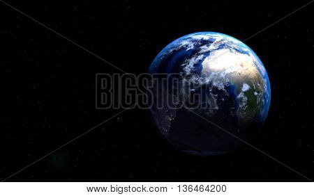 Imaginary view of planet Earth into deep space focused on Europe Asia and Middle East. Elements of this image furnished by NASA