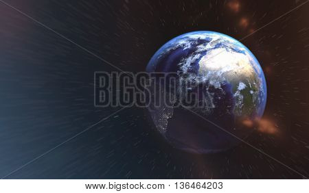 Magical ımaginary view of planet Earth into deep space focused on Europe Asia and Middle East. Elements of this image furnished by NASA