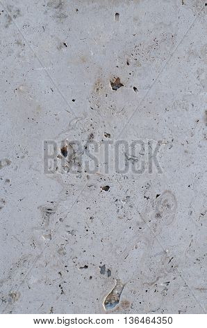 Tile of polished gray limestone as finishing material for exterior of a building