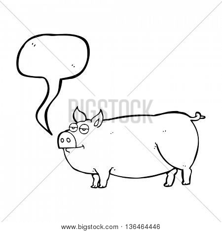 freehand drawn speech bubble cartoon huge pig