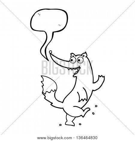 freehand drawn speech bubble cartoon happy wolf dancing