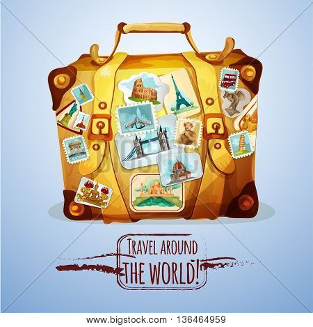 Touristic suitcase with world landmark stamps and stickers cartoon poster vector illustration
