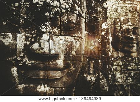Buddha Faces Ancient Excavate Structure Carving Concept