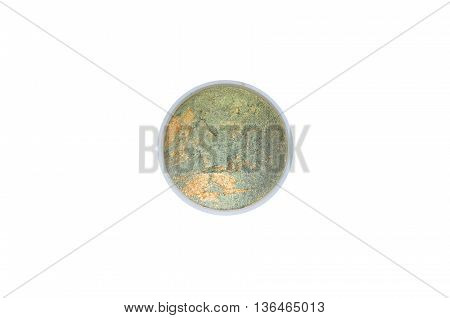 eyeshadow green and gold isolated on white background