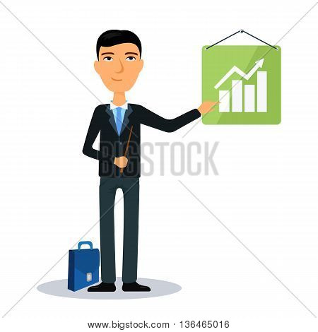 Businessman showing chart presentation. Broker, manager or dealer. Flat vector illustration.