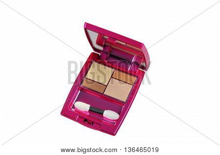 Makeup colorful eyeshadow golden-brown palettes isolated on white background