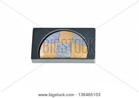 eyeshadow silver and gold color isolated on white background