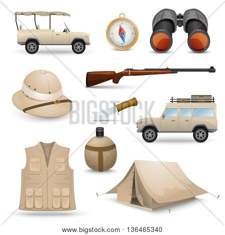 Safari icons for savanna  hunting with tourist  ammunition isolated vector illustration