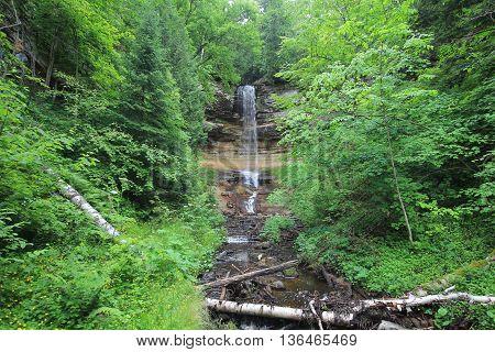 Munising Falls in Pictured Rocks National Lakeshore.  This waterfall is in Munising, Michigan