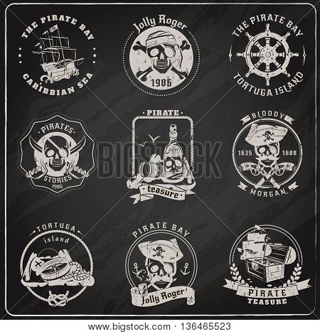 Famous pirate stories games and legends emblems pictograms set in chalk on blackboard abstract isolated vector illustration