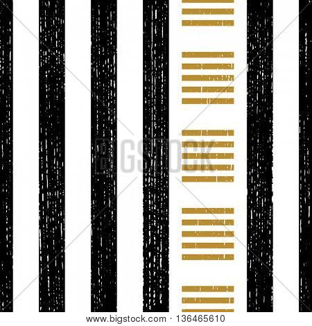Seamless Vertical Stripe and Square Pattern. Vector Black and Gold Background