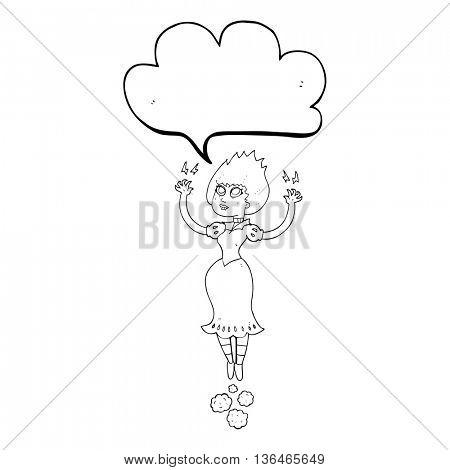 freehand drawn speech bubble cartoon vampire girl flying
