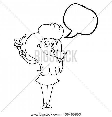 freehand drawn speech bubble cartoon woman brushing hair