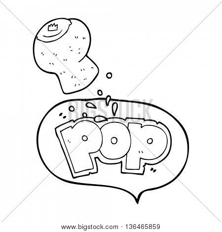 freehand drawn speech bubble cartoon champagne cork popping