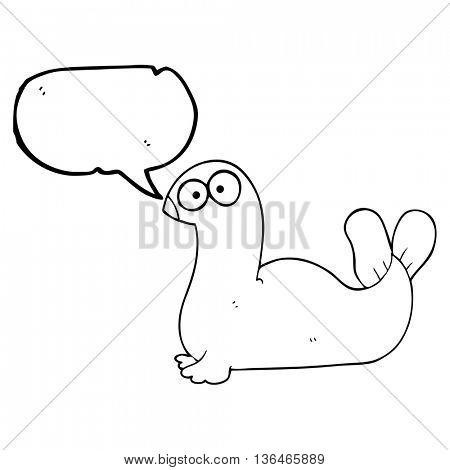 freehand drawn speech bubble cartoon seal