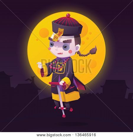 Vector Illustration of Chinese Hopping Vampire Ghost with Jumping Stick for Halloween on Full Moon Background, Cute Character