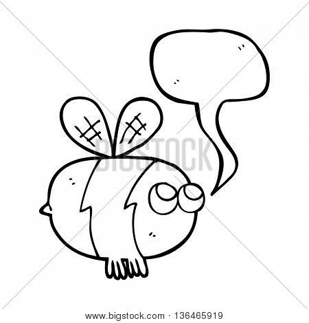freehand drawn speech bubble cartoon bee