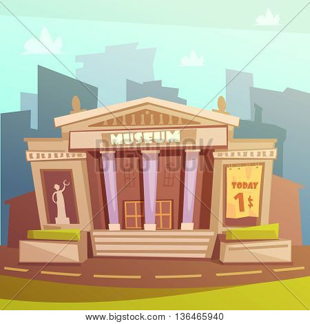 Color cartoon illustration depicting museum building with title and columns vector illustration
