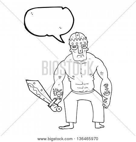 freehand drawn speech bubble cartoon warrior with sword
