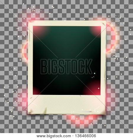 Retro photo frame on transparent background. Vector illustration EPS 10.