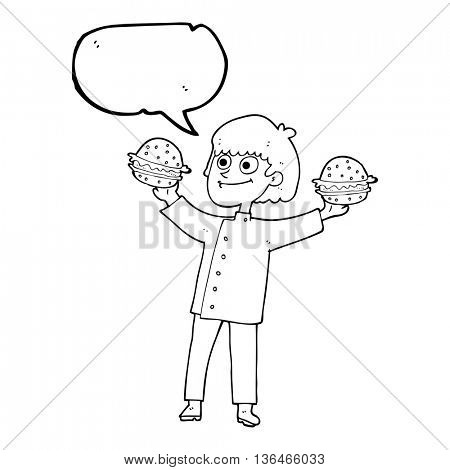 freehand drawn speech bubble cartoon chef with burgers
