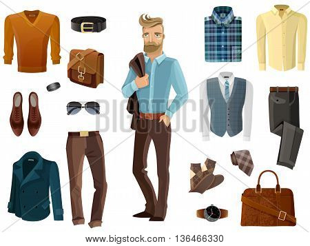 Fashion formal clothing shoes accessories set and hipster man with coat over his shoulder in middle on white background cartoon isolated vector illustration