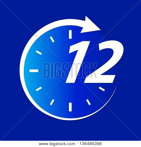Time of Dentist. Abstract Clock on Blue for Design