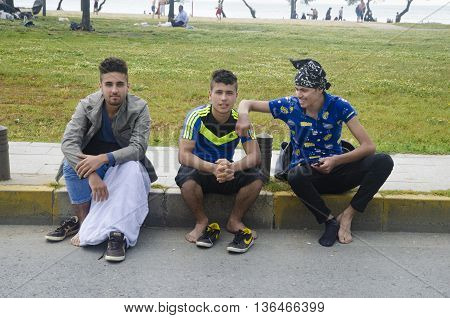 Istanbul Turkey - June 4 2016: Syrian refugees in Istanbul küçükçekmece coast.