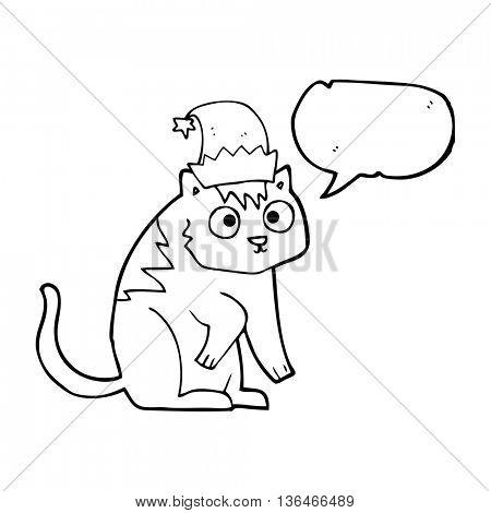 freehand drawn speech bubble cartoon cat wearing christmas hat
