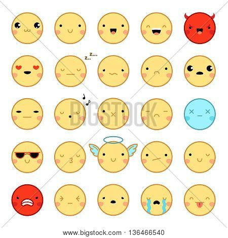 Flat design twenty-five funny colorful emoji emoticons set with various emotions isolated on white background vector illustration