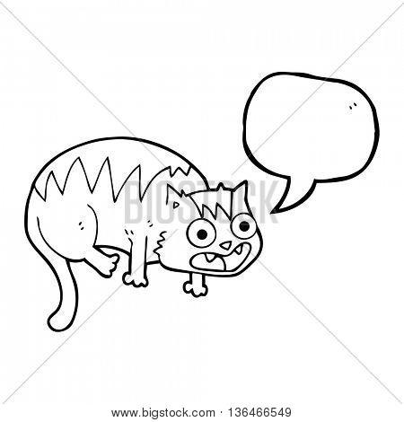 freehand drawn speech bubble cartoon cat