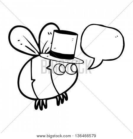 freehand drawn speech bubble cartoon bee top hat