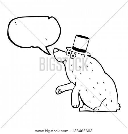 freehand drawn speech bubble cartoon bear in top hat