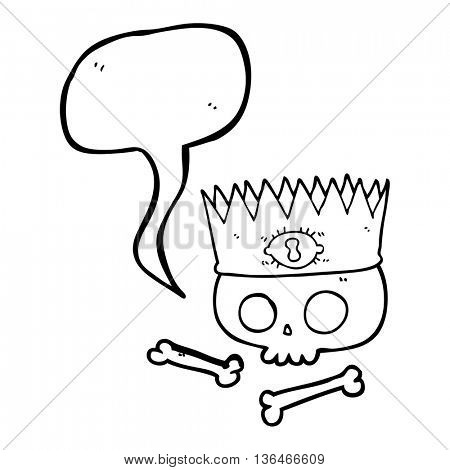 freehand drawn speech bubble cartoon magic crown on old skull
