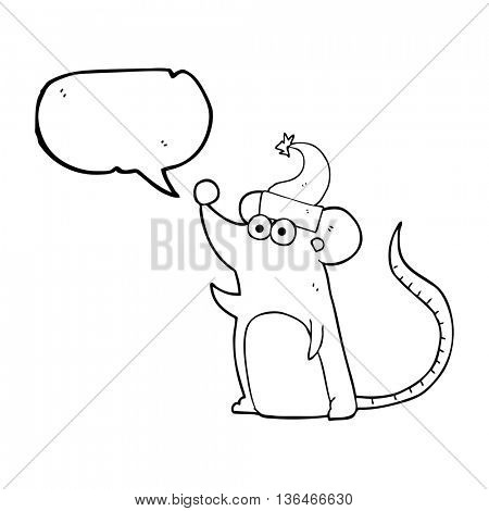 freehand drawn speech bubble cartoon mouse christmas hat
