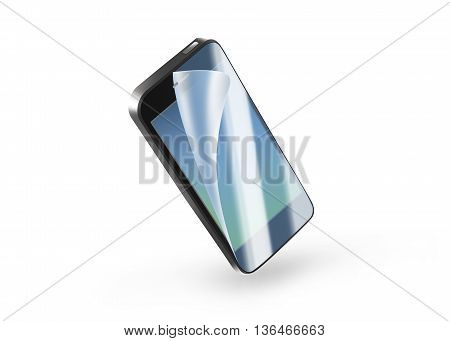 Black phone protection film on screen 3d illustration. Mobile display with protector isolated on white. Mock up protected from damage protective film. Safety clear insure from crash. Defense digital presentation.