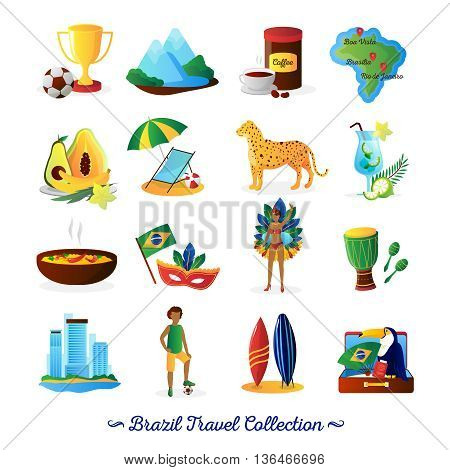 Brazilian culture food and traditions for travelers with country map flat icons collection abstract vector isolated illustration