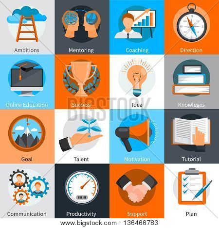 Flat design concept icons for mentoring and coaching skills development set isolated vector illustration