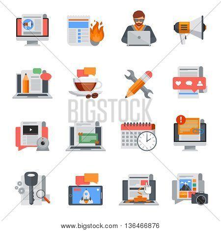 Flat design blogging icons set for blog management on white background isolated vector illustration