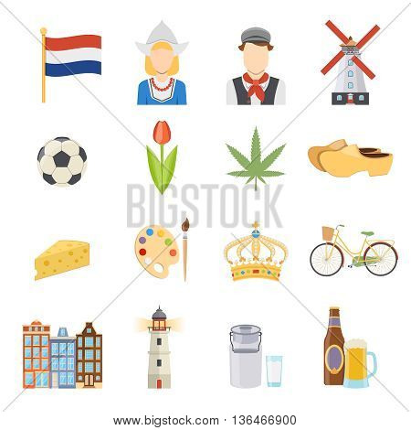 Colorful netherlands symbols and dutch culture flat icons set on white background isolated vector illustration