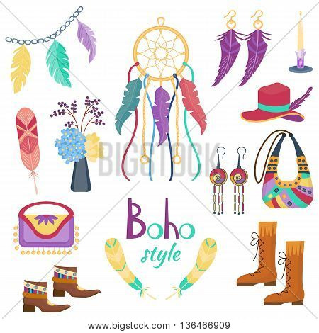Set of boho fashion elements. Ethnic rustic collection with dream catcher, feathers and earrings, bags and boots. Vector illustration.  Cartoon style