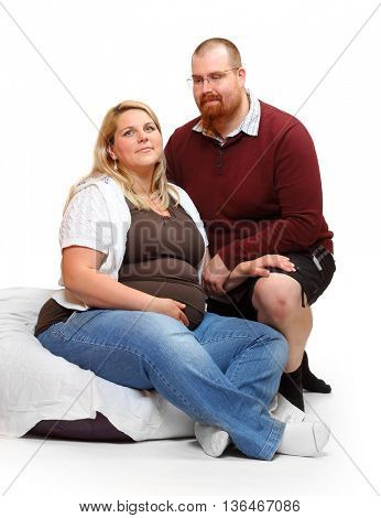 Overweight couple. Healthy lifestyle concept. Obese adults on white background. Happy family together.