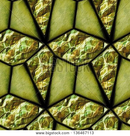 Abstract seamless relief pattern of green and gold grained stones and crystals. Green and gold cracked background with gemstones