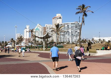 People Walking On Promenade In Durban