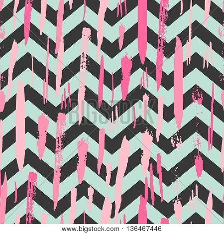 Striped background with rose pink brush strokes and black and mint stripes chevrons. Hand drawn ink background. Fashion trendy wallpaper. Gradient seamless pattern. Modern painted card