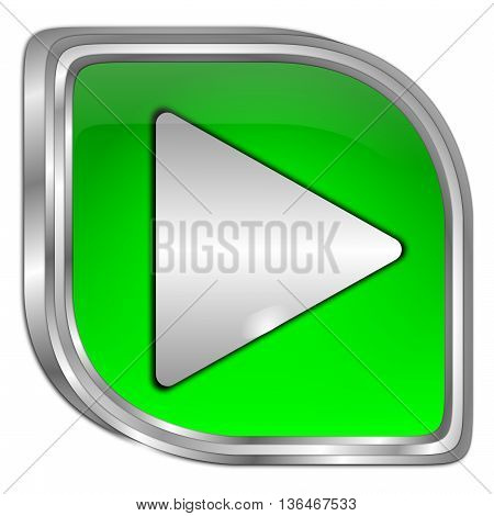 decorative green Play Button - 3D illustration