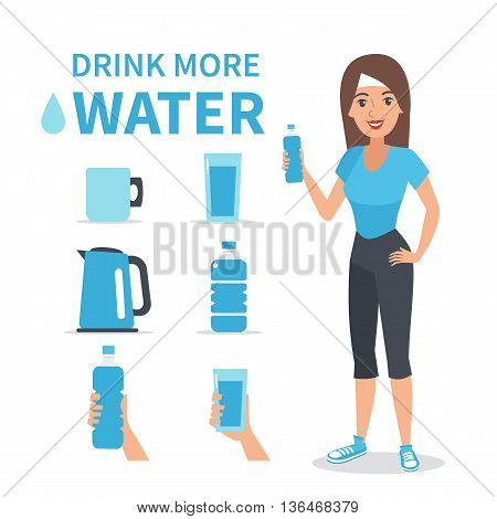 Vector water infographic elements isolated on white background. Vector icons set and character.