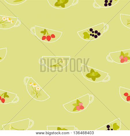 Background herbal tea. A cup with raspberry, chamomile, mint, linden, currant and rosehip. Vector illustration