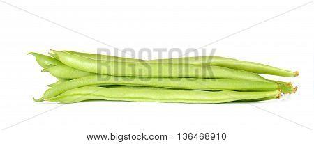 Fresh string bean isolated on white background.